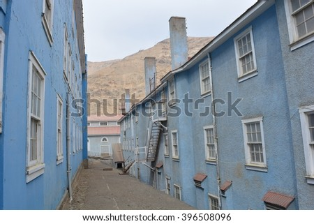 Sewell Mining Town, Chile - March 27th 2016 - Blue buildings of the town of Sewell, a UNESCO World Heritage Site