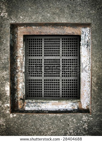 sewer hole in ground - stock photo
