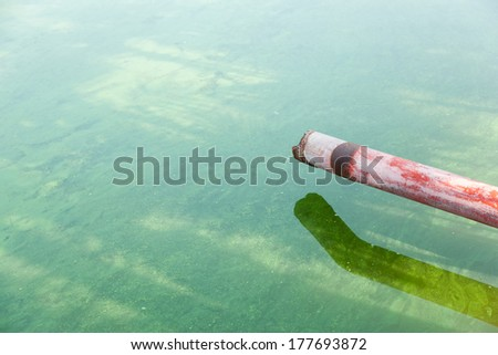 Sewer In the water just to the wastewater treatment process. - stock photo