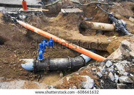 sewer  pipes repair for worker in  in construction site