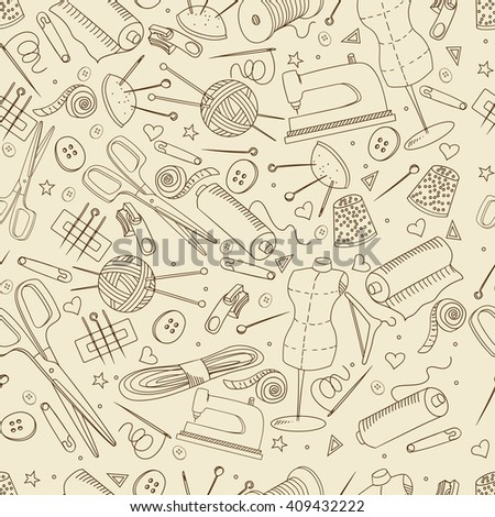 Sewing accessories seamless retro line art design raster illustration. Implement separate objects. Hand drawn doodle design elements. - stock photo
