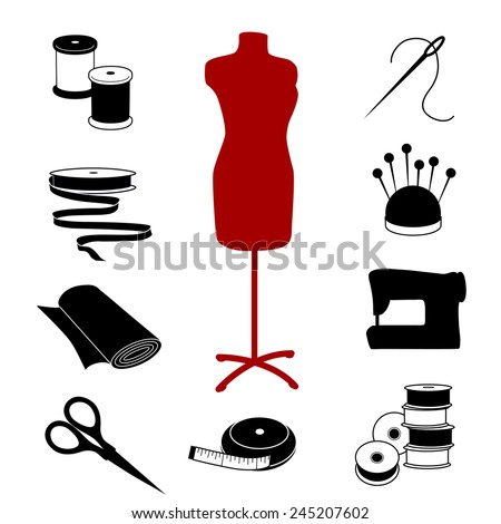 Sewing and Tailoring Icons. Fashion model with tools and supplies for do it yourself sewing, tailoring, dressmaking, needlework and crafts.  - stock photo