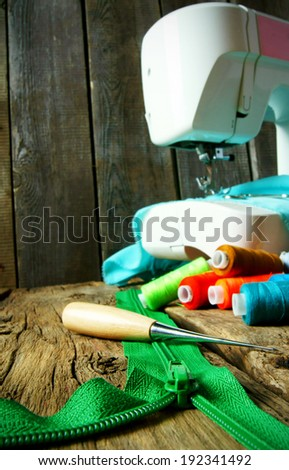 Sewing background. Tools for an embroidery. - stock photo