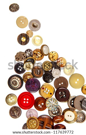 Sewing buttons on white background isolated - stock photo
