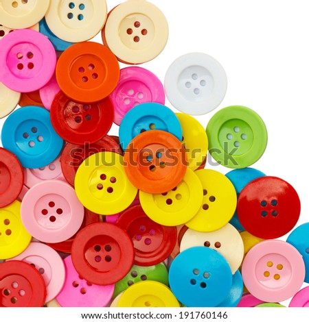 Sewing buttons, Plastic buttons, Colorful buttons, Clasper close up, buttons background. - stock photo