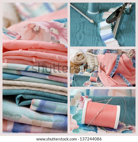 Sewing collage includes macro images of pastel colored fabric, sewing basket with notions, pinking shears on moire fabric, and needle with thread - for home decor, dressmaking, or quilting project. - stock photo