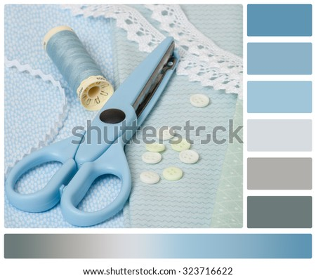 Sewing Craft Kit. Tailoring Hobby Accessories. Palette With Complimentary Colour Swatches.