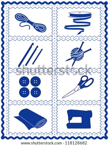 Sewing, Craft Tools for knit, crochet, tailoring, fashion, quilting, do it yourself hobbies: needles, hooks, yarn, buttons, scissors, machine, ribbon, cloth, isolated on white, blue rick rack frame. - stock photo