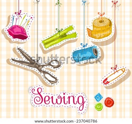 Sewing dressmaking and needlework accessories sketch composition  illustration - stock photo