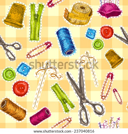 Sewing dressmaking and needlework accessories sketch seamless pattern  illustration