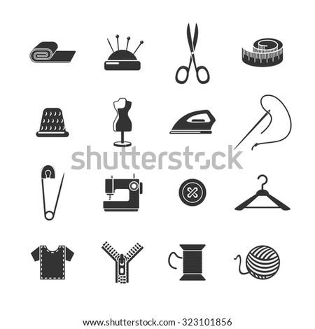 Sewing dressmaking and tailoring icon black set isolated  illustration - stock photo