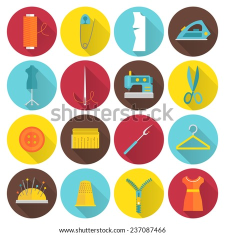 Sewing equipment and tailor needlework accessories icons with thread needle zipper isolated  illustration - stock photo