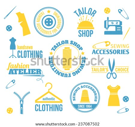 Sewing equipment fashion accessories colored labels set isolated  illustration - stock photo