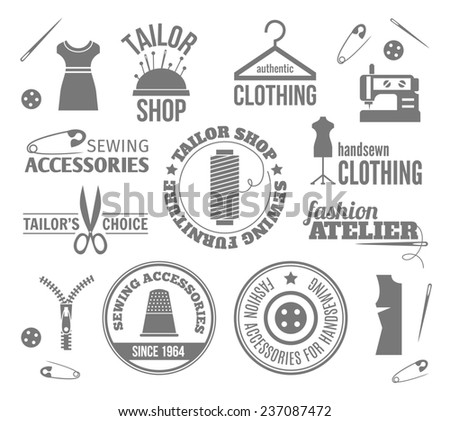Sewing equipment fashion tailor accessories black labels set isolated  illustration - stock photo