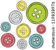 Sewing equipment - illustration of isolated colored buttons, vector drawing - stock photo