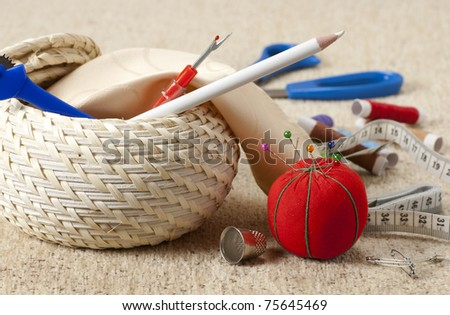 Sewing household hobby set - stock photo