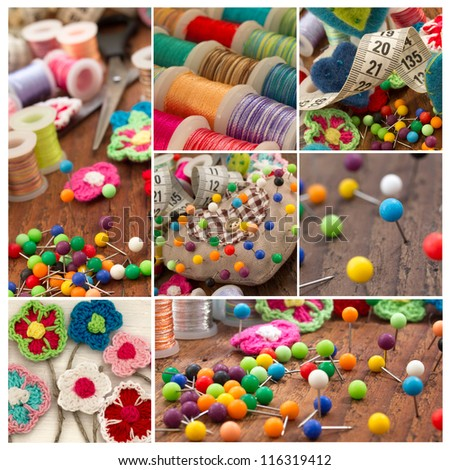 sewing images collage - stock photo