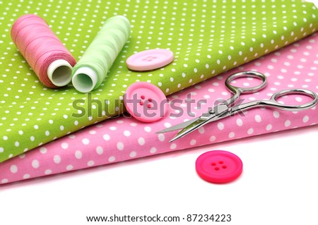Sewing items, isolated on white - stock photo
