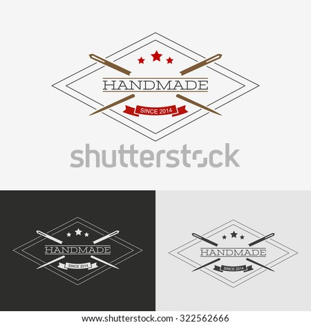 Sewing logo. Needlework or sewing logo with needle and thread for sewing. - stock photo