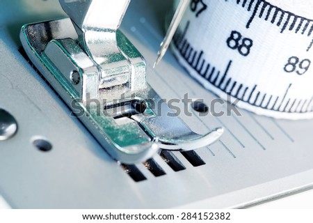 Sewing machine close up image. - stock photo