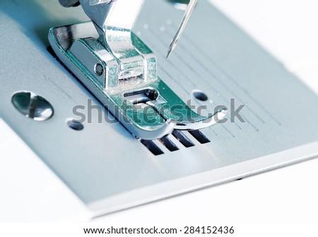 Sewing machine close up image. - stock photo