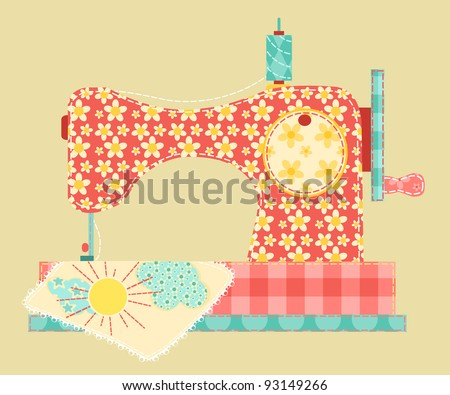 Sewing machine. Patchwork vintage series. - stock photo