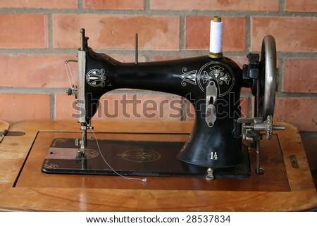 sewing machine vintage - stock photo