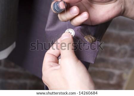 Sewing macro - stock photo