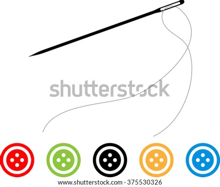 Sewing Needle Button Symbol Raster Illustration