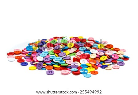Sewing old buttons, Old plastic buttons, Colorful old buttons, Old clasper close up, Old buttons background.
