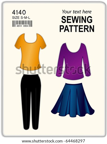 Sewing pattern long short sleeve tshirts vectores en stock 63896980 sewing pattern long and short sleeve t shirts pants skirt for women solutioingenieria Image collections