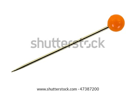 Sewing pin with round red head; isolated, clipping path included - stock photo