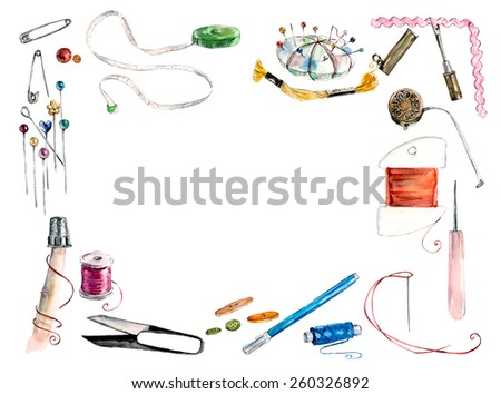 Sewing related elements on white textured background. Frame from sewing tools and colored tape. Sewing kit. Scissors, bobbins with thread and needles. Threads & tools for embroidery.  - stock photo