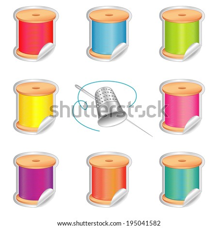 Sewing Stickers. Silver thimble, needle, shaded spools of thread, strand detail, 8 summer beach colors for do it yourself sewing, tailoring, quilting, crafts, needlework. Isolated on white background. - stock photo