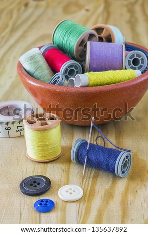 Sewing supplies with great light and colors