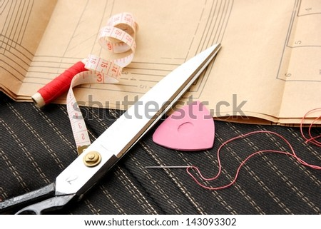 Sewing tools fashion design background. - stock photo