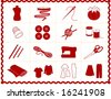 Sewing Tools: fashion model, needle, thread, scissors, yarn, ribbon, pincushion, for sewing, tailoring, dressmaking, needlework, quilting, crochet, craft, do it yourself hobbies, red rick rack frame. - stock vector