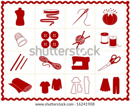 Sewing Tools: fashion model, needle, thread, scissors, yarn, ribbon, pincushion, for sewing, tailoring, dressmaking, needlework, quilting, crochet, craft, do it yourself hobbies, red rick rack frame. - stock photo