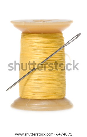 Sewing tools - needle and strings. Isolated on white background. - stock photo