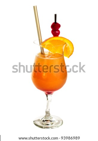Sex on the beach cocktail drink isolated on white background - stock photo