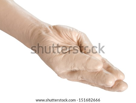 Sex toy - close up of giant hand prosthesis for fisting isolated on white background - stock photo