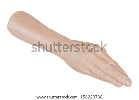 Sex toy - giant hand prosthesis for fisting isolated on white background - stock photo