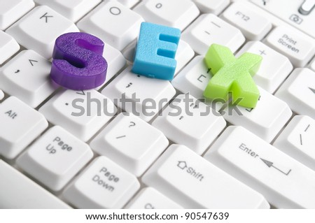 Sex word made by colorful letters on keyboard