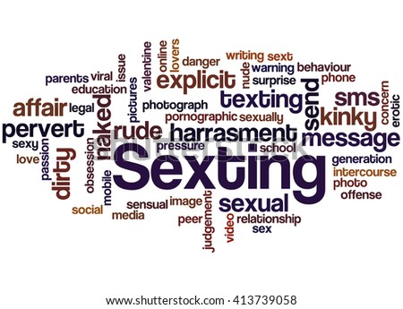 Sexting Word Cloud Concept On White Stock Illustration 413739058