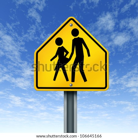 Sexual abuse in schools with a warning sign of a sex predator abusing and attacking young innocent student victims represented by a yellow hazard sign with the criminal act illustrated as a symbol.