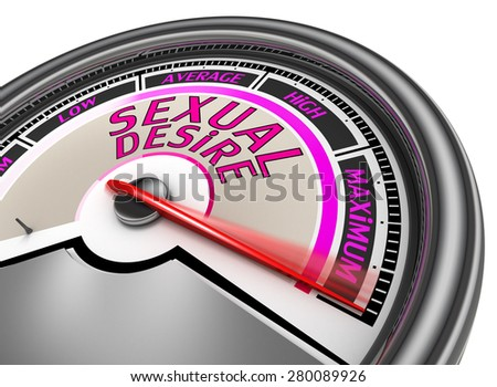Sexual desire meter indicate maximum, isolated on white background - stock photo