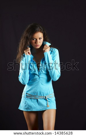sexual   girl in turquoise gown - stock photo