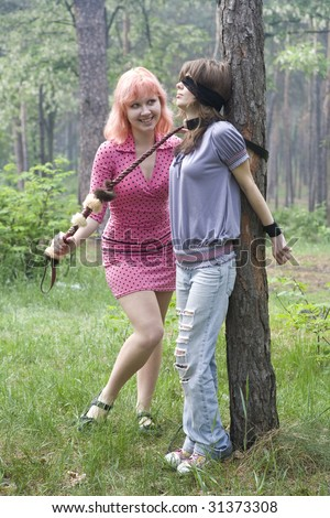 sexual playing of two girls of lesbians sadomasochism