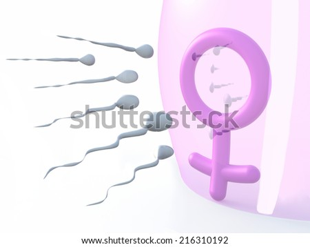 sexual symbol woman protected by latex and sperms, 3d illustration - stock photo