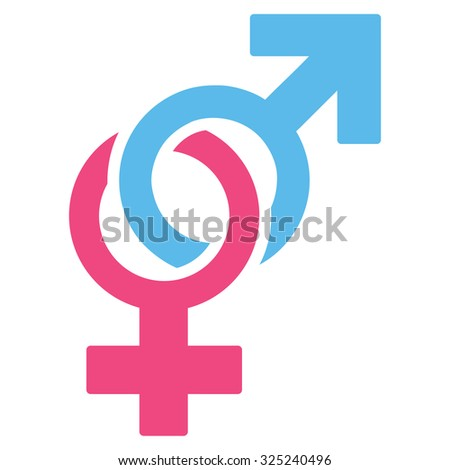 Sexual Symbols glyph icon. Style is bicolor flat symbol, pink and blue colors, rounded angles, white background.
